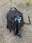 All gear fits into this compact LowePro camera bag, for easy transportation on foot or bicycle. I chose a very compact tripod, striking a compromise between stability and portability.